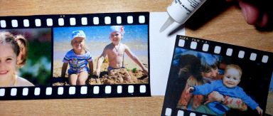 einzelne essbare Filmstreifen mit 3 oder 4 Bildern können leicht mit Fondantkleber zu beliebig langen Filmrollen zusammengefügt werden